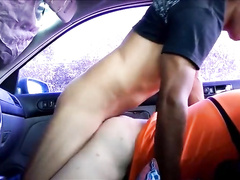 Gay twinks are having hardcore sex in a car