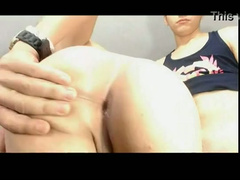 Gorgeous twink boy is having his ass fully stretched