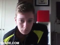 Cute amateur boy masturbates for his webcam