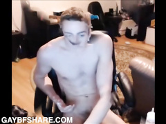 Cute young boy fingers himself and cums on webcam