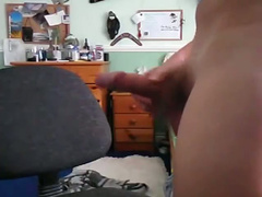 Womanlike dude is masturbating his dick on webcam