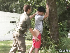Young guy got caught by twink soldier outdoors