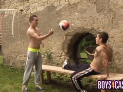 Both men reach orgasm while masturbation & fuck