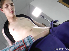 Skinny handsome twink got pleased with hot handjob