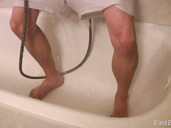 Twink got in shower in white underwear and pleasantly waked off