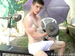 Twink lifts some weight and gets hot outdoors