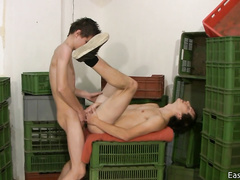 Teen gay friends are hotly fucking in warehouse