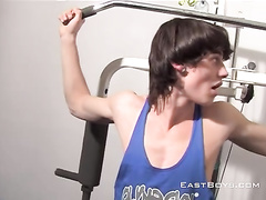 Teen twink excitingly masturbates dick in lifting room