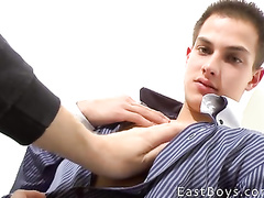Beauty twink is getting undressed and pleased with handjob