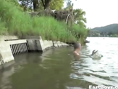 Gay is filming teen twink swimming nude in river