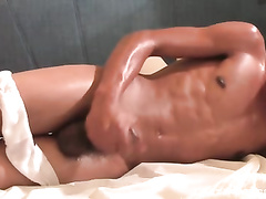 Latina twink gets oiled and enjoys dick masturbation