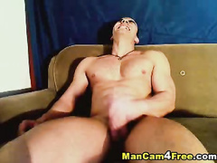 Bald twink got hot from webcam gay porn and enjoyed masturbation