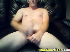 Young gay gets on couch nude and pleasantly masturbates his dick