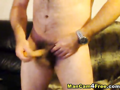 Hunk with hairy dick hotly poses and masturbates