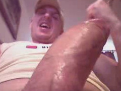 Rocky big twink is pleasantly wanking off his huge dick