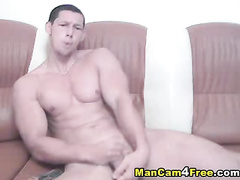 Sexy handsome twink is hotly posing and fondling ass