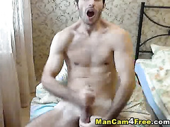 Skinny tight muscled twink is moaning from hot pleasure of dick masturbation