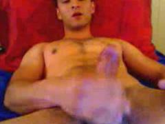 Teen gay dude with skinny body shape enjoys dick masturbation