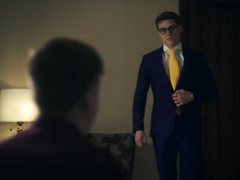 Nerd twink with glasses Blake Mitchell enjoys hardcore gay fuck with Joey Mills