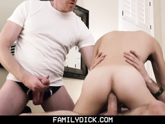 Bearded hunk invites the doctor and fucks his stepson