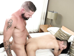 Sexy shaped hunk takes care of handsome twink's ancle and fucks him hard