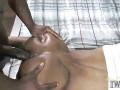 Black skinny hunk erects gay boyfriend's cock with blowjob