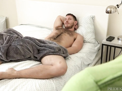 Sissy twink jerks off on sleeping hairy hunk and wakes him up