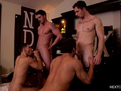 Four young  fags are pleasuring rough foursome fuck