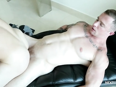 Tight muscled gay is doing deep blowjob and having asshole licked in 69 pose